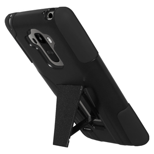 Double Layer Hybrid Case w/Kickstand No Clip - Black/ Black
