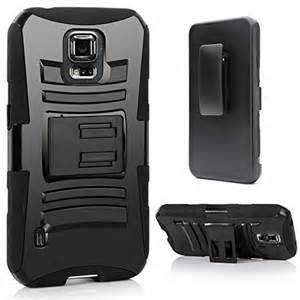 Extreme Rugged Dual Layer Kickstand Combo Case w/ Belt clip Holster Samsung Galaxy S5 Active Black/Black