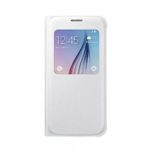 Samsung - S-View PU Flip Cover for Samsung Galaxy S6 White