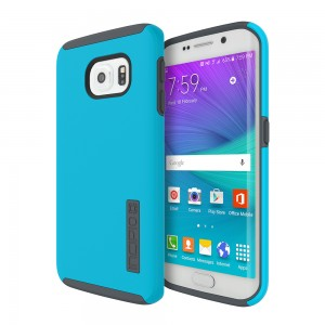 Incipio Technologies - DualPro Case Samsung GS6 edge Neon Blue/Charcoal