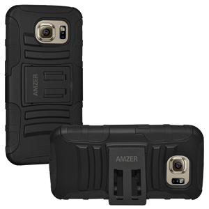 Premium Hybrid Case w/Kickstand For Galaxy S6  - Black/ Black