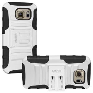 Premium Hybrid Case w/Kickstand For Galaxy S6 - Black/ White