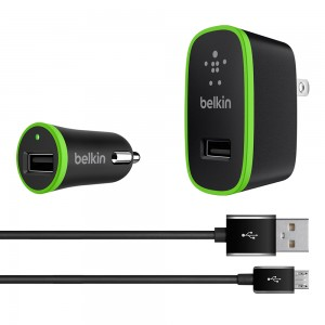 Belkin COMBO 3PC 2.4 Amp Micro USB Charging Kit (Vehicle & Wall Charger w/Detachable 4-Feet Cord) Black