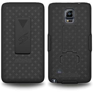 Premium Holster and Protective Cover Combo w/Patterned Rubberized Texture Note 4 Black