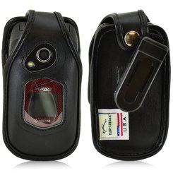 Kyocera DuraXV and DuraXA Executive Black Leather Case Phone Case w/Ratcheting Belt Clip
