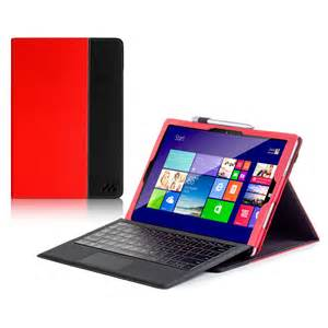 Manvex Leather Case for the NEW Microsoft Surface PRO 3 Tablet - Red/Black