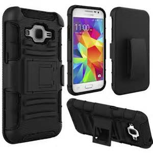 Extreme Rugged Dual Layer Kickstand Combo Case w/Belt clip Holster Samsung Galaxy Core Prime Case G360 Black/Black