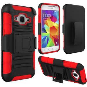 Extreme Rugged Dual Layer Kickstand Combo Case w/Belt clip Holster Samsung Galaxy Core Prime Case G360 Red/Black