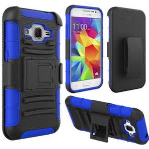 Extreme Rugged Dual Layer Kickstand Combo Case w/Belt clip Holster Samsung Galaxy Core Prime Case G360 Blue/Black