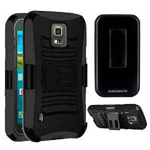 Premium Duo Armor Combo Case w/Stand and Belt Clip for LG LEON (BLACK)