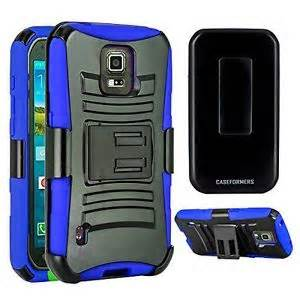Premium Duo Armor Combo Case w/Stand and Belt Clip for LG LEON (BLUE)