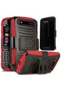 Premium Duo Armor Combo Case w/Stand and Belt Clip for LG LEON (RED)