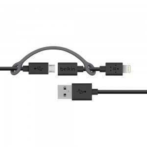 Belkin UAB-A Combo to Micro-USB w/Lightning USB-8Pin Cable Adapter (3-Foot)