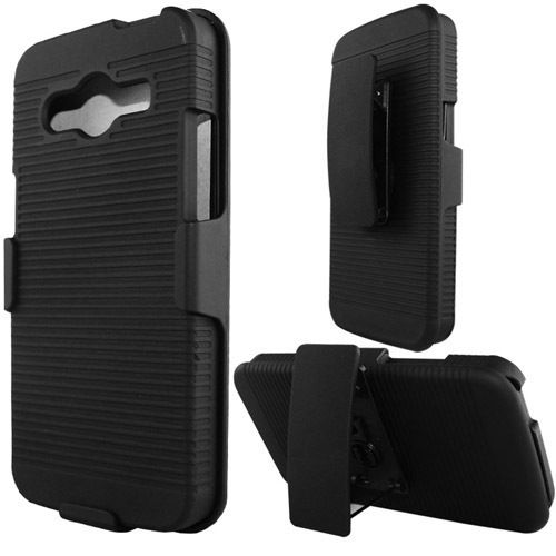 Premium HYBRID HOLSTER 3-in-1 Combo Phone Cover Case w/Kickstand & Belt Clip (Black)