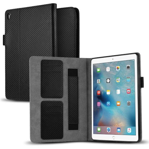 VALKYRIE Fitted iPad Pro 9.7 Flip Slim Wallet Case w/Card Slot Flip Cover & Stand Feature - Black Carbon Fiber