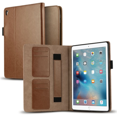 VALKYRIE Fitted iPad Pro 9.7 Flip Slim Wallet Case w/Card Slot Flip Cover & Stand Feature - Brown/Tan