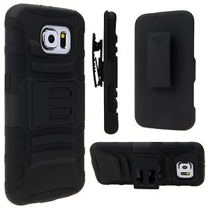 Premium Duo Armor Combo Case w/Stand and Belt Clip for Samsung Galaxy Grand Prime (BLACK)