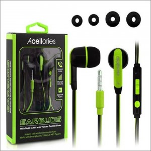 Acellories Universal 3.5mm Dual-Colored Wire Earbuds w/Volume Control- Black/Green