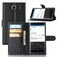 BlackBerry Lightweight Leather Case, Lightweight, Slot Premium Leather For BB Priv,Venice (Black)