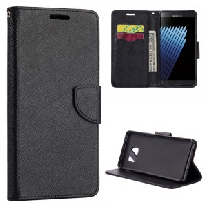 Samsung Note 7 -Smartphone Protective Case with Card Pockets and Stand - Color: Black
