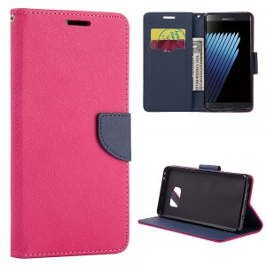 Samsung Note 7 -Smartphone Protective Case with Card Pockets and Stand - Color: Pink