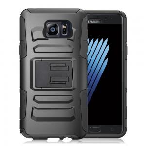 Samsung Galaxy Note 7 - Armor Hybrid Heavy Duty Cover w/ Kickstand (No Belt Clip)-Color: Black