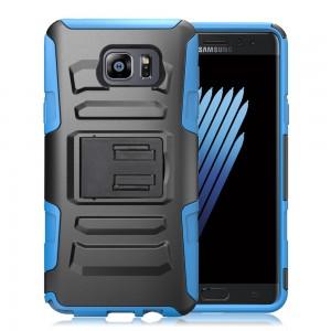 Samsung Galaxy Note 7 - Armor Hybrid Heavy Duty Cover w/ Kickstand -(No Belt Clip)Color: Black-Blue