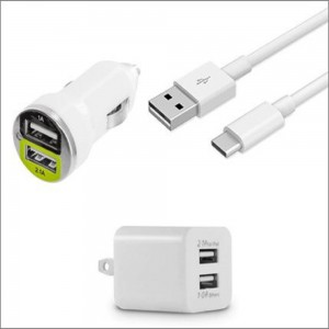 X-factor 2.1A Dual Port Vehicle & Wall Charger Kit  w/Detachable USB-Type