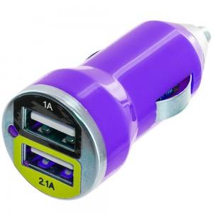 Premium Dual USB-A Port 2.1A /1A Bullet Car Charger Color: PURPLE