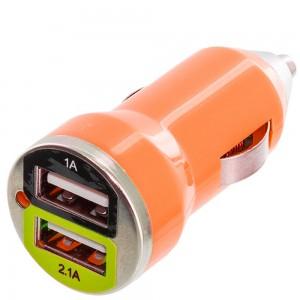 Premium Dual USB-A Port 2.1A /1A Bullet Car Charger Color: Orange