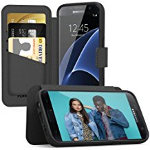 Samsung Galaxy S7 PureGear Express Folio Wallet Case w/Card Holder - Black Perforated Leather