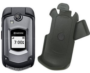Wireless Black Holster Case w/Ratcheting Belt Clip for Kyocera DuraXTP