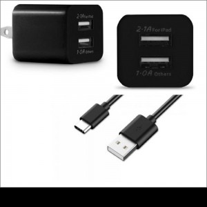 Xfactor USB-C Home/Travel Charger |2-Piece: Dual Port Cube & Sync/Charger Cable | Color: Black