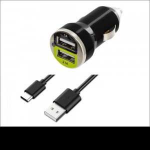 Xfactor USB-C Vehicle Charger |2-Piece: Dual Port Bullet & Sync/Charger Cable | Color: Black