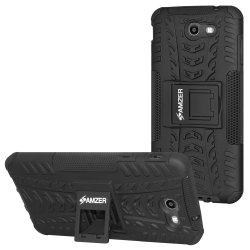 Premium Hybrid Warrior Case w/Kick Stand - Black/ Black
