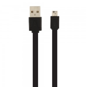 Universal Xfactor Micro USB Sync & Charge Cable, Flat Silicone (3-Feet) Cable/Black