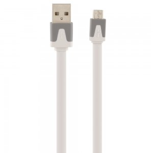 Universal Xfactor Micro USB Sync & Charge Cable, Flat Silicone (3-Feet) Cable/White