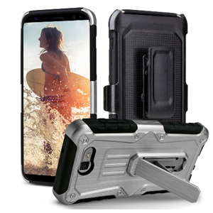 Premium Heavy Duty Shockproof Extreme Protective Cover With Holster - Silver/ Black