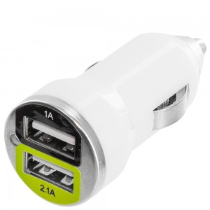 Premium DUAL USB-A Port 2.1A /1A Bullet Car Charger (w/out USB Cable) Color: White