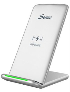 Seneo Wireless Charger, Fast Wireless Charging Pad Stand (NO AC Adapter) White