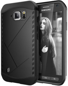 E-LV (SHOCK PROOF DEFENDER) Slim Case Cover Full Protection for Galaxy S6 ACTIVE - BLACK