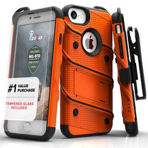 Zizo Military 12-Foot Drop Grade Bolt Combo Case, Kick Stand, Belt Clip & Glass Screen Protector (Orange)