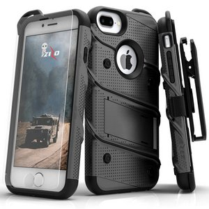 Zizo Military 12-Foot Drop Grade Bolt Combo Case, Kick Stand, Belt Clip & Glass Screen Protector (GunMetalGray)