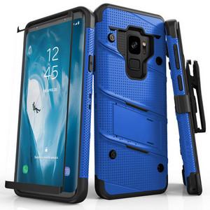 Military 12-Foot Drop Grade Bolt Combo Case, Kick Stand, Belt Clip & Glass Screen Protector (Blue)