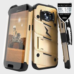 Zizo Military 12-Foot Drop Grade Bolt Combo Case, Kick Stand, Belt Clip & Glass Screen Protector (GOLD
