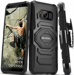 Evocel Rugged Holster Dual Layer Case, Kickstand, Belt Swivel Clip (Galaxy S8 Active)