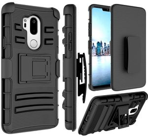 Premium FITTED Duo Armor Combo Case w/Stand and Belt Clip for LG Aristo/2/2Plus (BLACK)