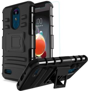 Fordesign Hard Hybrid Rugged Kickstand Case Screen Protector-Black