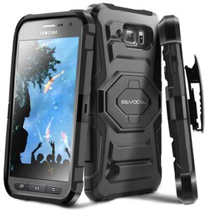 Evocel Dual Layer Rugged Holster Case with Kickstand & Belt Clip for Samsung Galaxy S6 Active Black