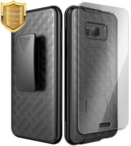 Premium FITTED COMBO CASE Holster & Protective Shell w/Belt Clip & Tempered Glass Screen Protector